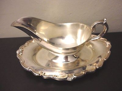 VTG F.B. Rogers Silverplate Ornate Gravy Boat With Attached Underplate