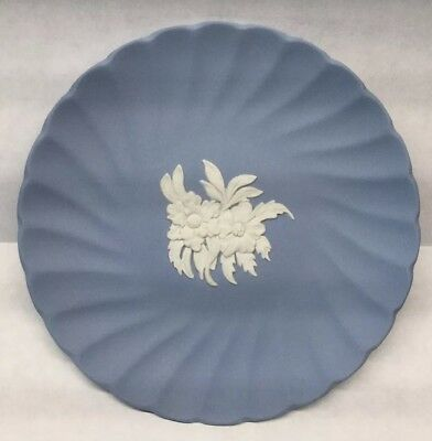 Wedgwood Blue Jasperware Floral Design 5 Inch Collector Plate Trinket Ring Dish