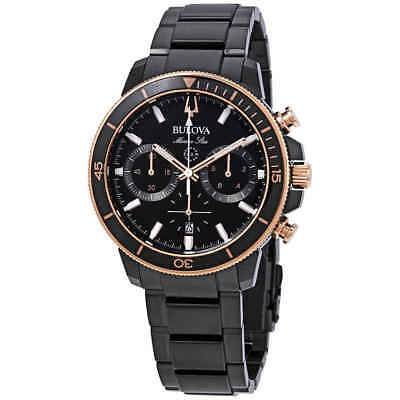 Bulova Marine Star Chronograph Black Dial Men's Watch 98B302