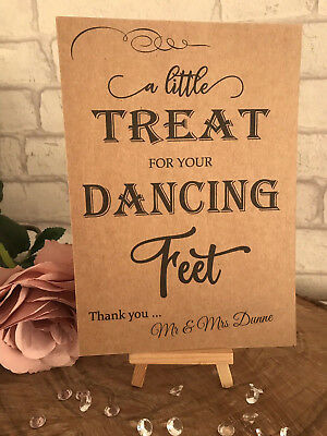 4f48fe1e6 Personalised Dancing Feet Wedding Table Sign Rustic Kraft Card Flip Flop  Shoes