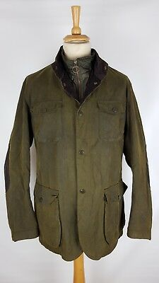 Barbour Ogston Mens Olive Green Wax Cotton Lined Thick Rugged Jacket, XXL