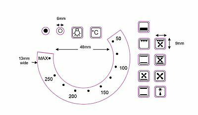 OVEN TEMPERATURE sticker decals with numbers 50-250-Max +13 OVEN SYMBOL STICKERS
