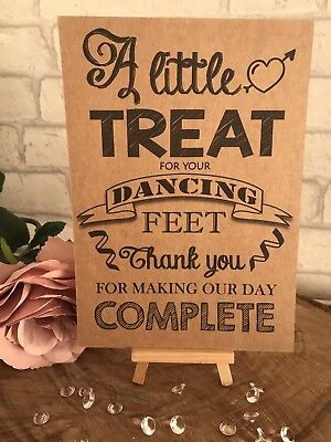 ea052eafe PERSONALISED DANCING FEET Wedding Table Sign Rustic Kraft Card Flip ...