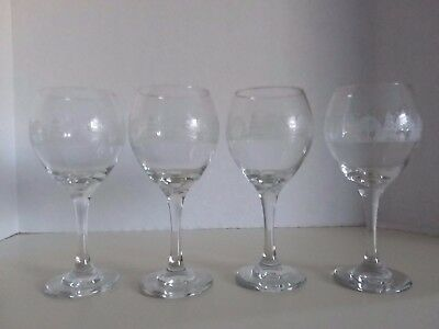 4 Libbey Xmas Winter White Frosted Tree Elegant Stemware Wine Goblets Arbys