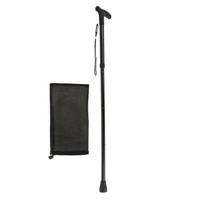 Travel Folding Walking Stick Alloy Light Adjustable Portable Cane with Pouch