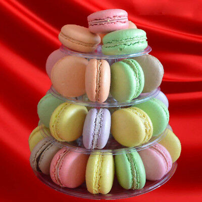 4 Tier Clear Macaron French Macaroons Tower Cake Cupacake Stand Box Pack 2