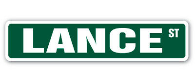 """LANCE Street Sign Decal Childrens Name Room Decal  Indoor/Outdoor   18"""" Wide"""