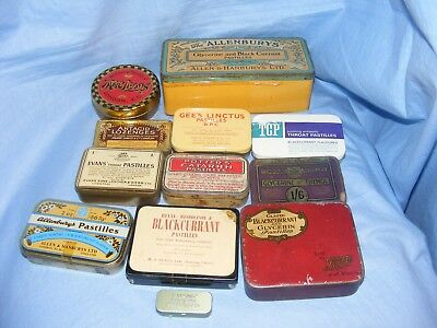 Vintage Tins Medical Chemist Tins Old Collectable Pharmacy Shop Tins