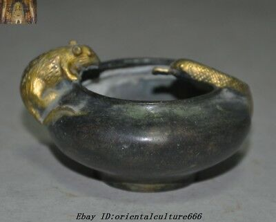 Marked Old Chinese Pure Bronze gilt Snake Mice Mouse Statue Pot jar Crock