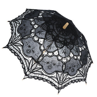 Ladies Black Embroidery Lace Parasol Umbrella Wedding Dancing Bridal Party