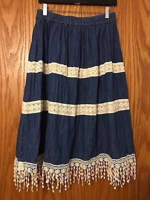 db72c94ba894c Boutique Long Modest Denim Jean Skirt!Lace Maxi!Flared! No Slits! Size