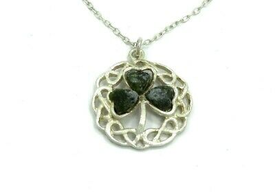 Vintage 1960s CONNEMARA marble IRISH gaelic celtic sterling necklace and pendant