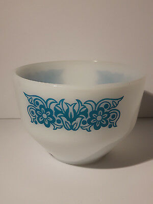 Federal Glass Milk Glass Mixing Bowl Light Blue Flowers Pattern excellent
