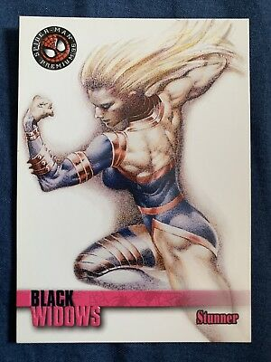 Spider-Man Premium '96 Fleer Skybox Black Widows Card #62 Stunner