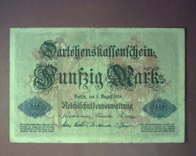 GERMANY 1914 EMPIRE 50 MARK BANKNOTE P49b VERY GOOD ~353377-OS313.RE