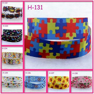 Autism Awareness Puzzle Print Grosgrain Ribbon Packing Wedding Party Decoration
