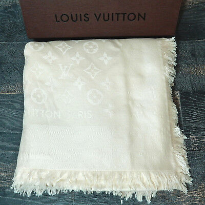Rise-on LOUIS VUITTON 60% Silk 40% Wool Monogram Beige Ivory Shawl Wrap #782b