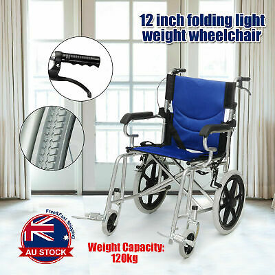 Luxury Blue Folding Wheelchair Light Weight Manual Mobility Aid Park Brakes Push
