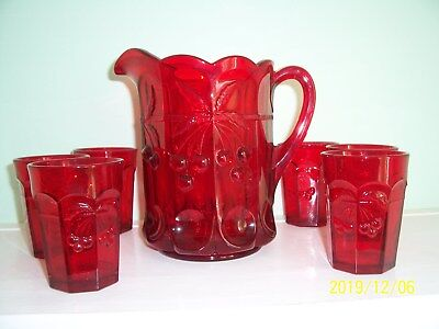 """Mosser Glass Cherry & Cable Thumbprint 8"""" RUBY RED PITCHER W/6 Glasses/Tumblers"""