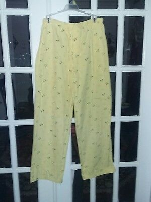 Intimate Classics size L Yellow & Green Frog Print Cotton Sleep Pajama Bottoms