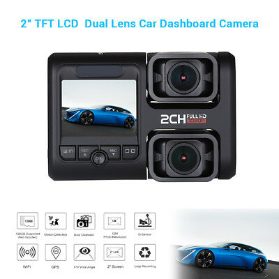 FHD Dual Channel Wifi GPS Car Dash Camera 1080P 30FPS 170° Wide Angle + 64G Card