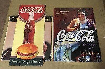 SEALED Coca-Cola Girls: An Advertising Art History Book & Coke Ad Sign lot