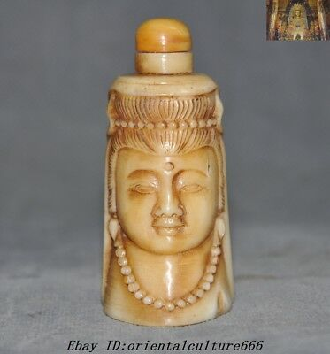 Rare China Old Cattle Bone Carved Kwan-yin Buddha Head Bust Statue snuff bottle