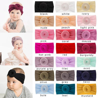 US Toddler Baby Boy Girl Headwear Donut Headband Soft 21 Color Elastic Hair Band