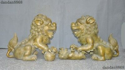 Old Chinese FengShui Bronze Evil Door Guardian Fu Foo Dog Lion Beast statue Pair