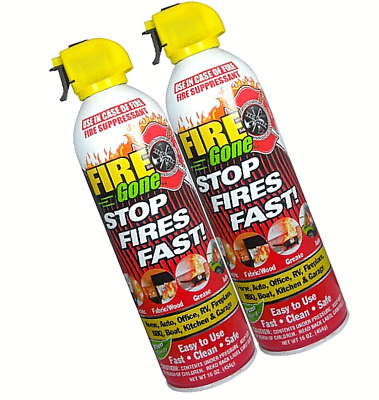 Fire Gone 2NBFG2704 White/Red Suppressant Canisters - 16 Ounce Pack of 2 Units