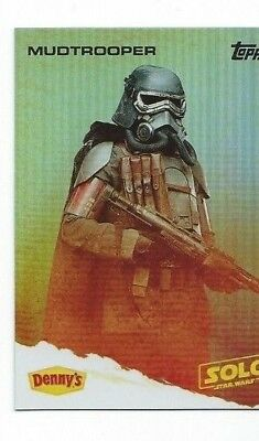Star Wars A Story: Solo Denny's TOPPS Card Foil Mudtrooper 1:100 Rare.
