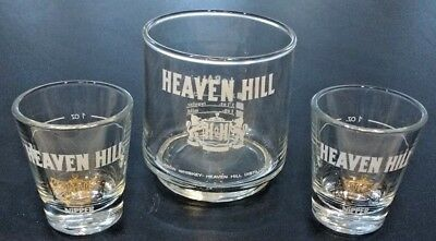 HEAVEN HILL Kentucky bourbon glass Vintage Low ball glass and 2 Shot Glasses