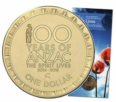 2015 $1 Coin 100 Years Of ANZAC Counterstamp Mintmark - Map Of Australia