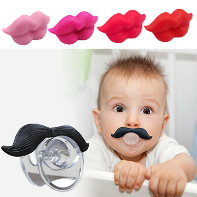 1x Silicone Infant Pacifier Orthodontic Nipples Dummy Mustache Beard Mouth Funny