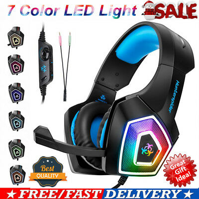 3.5mm Gaming Headset MIC LED Headphones For PC Mac Laptop PS4 Xbox One 3DS iPad