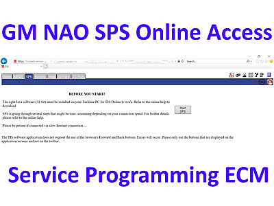 Online Access TIS2Web GM NAO SPS ECU Service Programming - Tech2 - MDI
