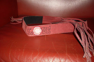 Pink suede leather Girls Belt with  'Love' Daisy 49cm