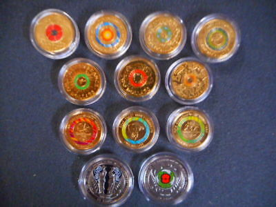 anzac remembrance  2018 red poppy  commonwealth games coloured  $2 coins unc#c51