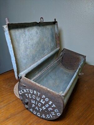 Antique 1901 Steel Mailbox Century Post Co. for Rural Horse Postal Delivery Rare