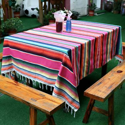 Mexican Blanket Tablecloth Cotton Serape Fabric Table Cover Fiesta Party Decor