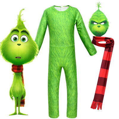 Kids Boys The Grinch Cosplay Jumpsuit Mask Costume Green Suit Christmas Outfit
