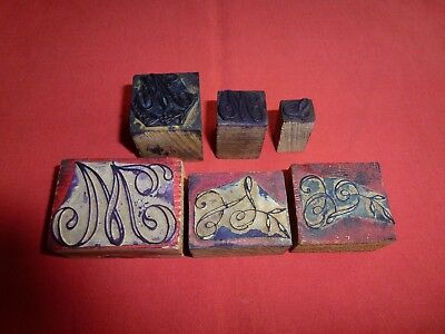6 Anciens Tampons Scolaires Lettres Majuscules