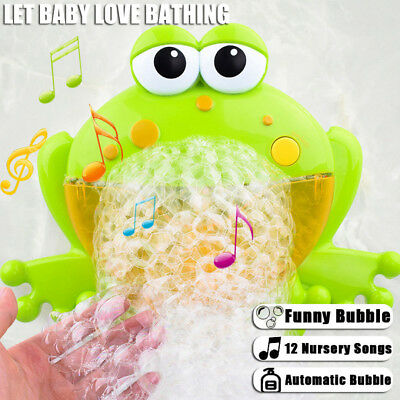 Baby Bath Bubble Toy Frog Bubble Blower Maker Machine with Nursery Rhyme Fun Toy