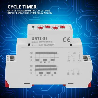 GRT8-S1 AC 230V Mini Asymmetric Cycle Timer ON/OFF Repeat Cycle Time Relay BM