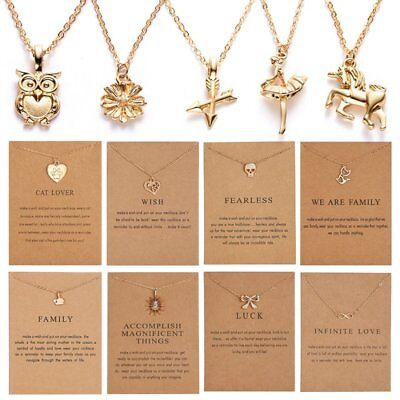 Women Necklace Charms Pendant Gold Clavicle Chains Choker Card Jewellery Gifts