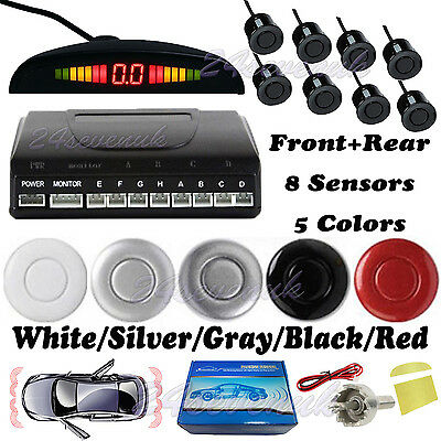 Front Rear LED Display Car Reverse Parking Sensor 8 Sensors Buzzer Alarm Aid Kit