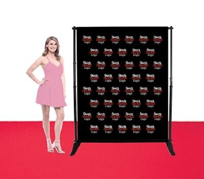 5'X6' Step Repeat Adjustable Stand Telescopic Double Side Fabric Banner Backdrop