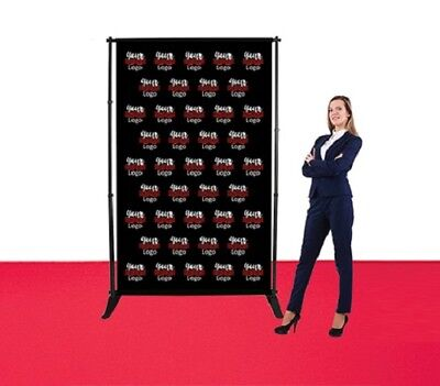 5'X8' Step & Repeat Adjustable Stand+Double Sided Fabric Banner Photo Backdrop