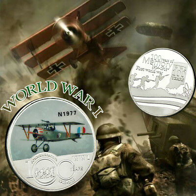 Airplane War First World War Model Commemorative Silver Coin Collection Gifts