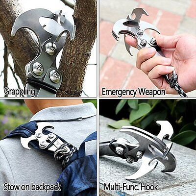 Folding Stainless Steel Gravity Grappling Hook Climbing Claw Tools Carabine A1N4